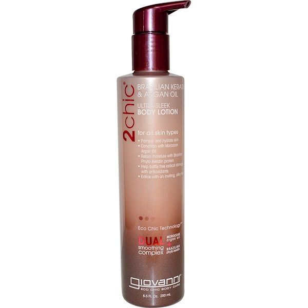 Giovanni, 2chic, Ultra-Sleek Body Lotion, Brazilian Keratin & Argan Oil, 8.5 fl oz (250 ml) (Discontinued Item)