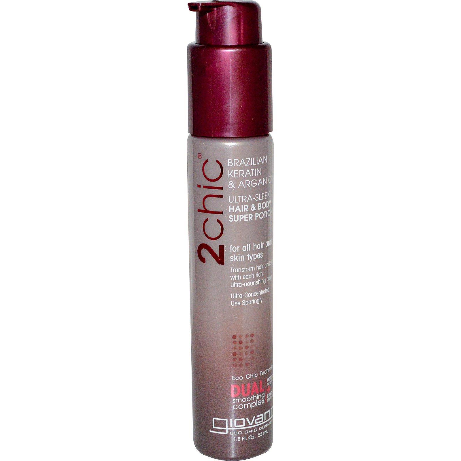 Giovanni, 2chic, Ultra-Sleek Средство для волос и тела, бразильский кератин и аргановое масло, 53 мл