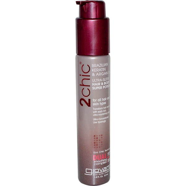 Giovanni, 2chic, Ultra-Sleek Hair & Body Super Potion, Brazilian Keratin & Argan Oil, 1.8 fl oz (53 ml)