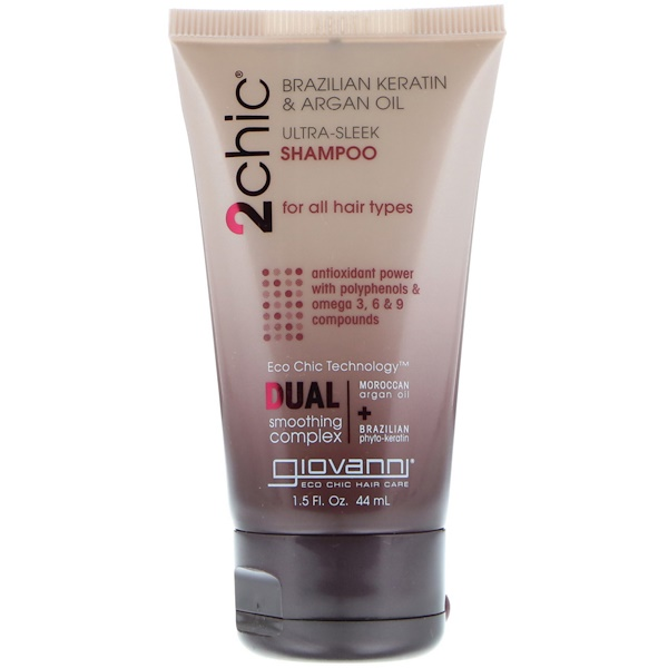 Giovanni, 2chic, Ultra-Sleek Shampoo, for All Hair Types, Brazilian Keratin & Argan Oil, 1.5 fl oz (44 ml)