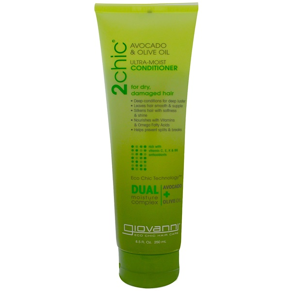 Giovanni, 2chic, Ultra-Moist Conditioner, for Dry, Damaged Hair, Avocado & Olive Oil, 8.5 fl oz (250 ml)