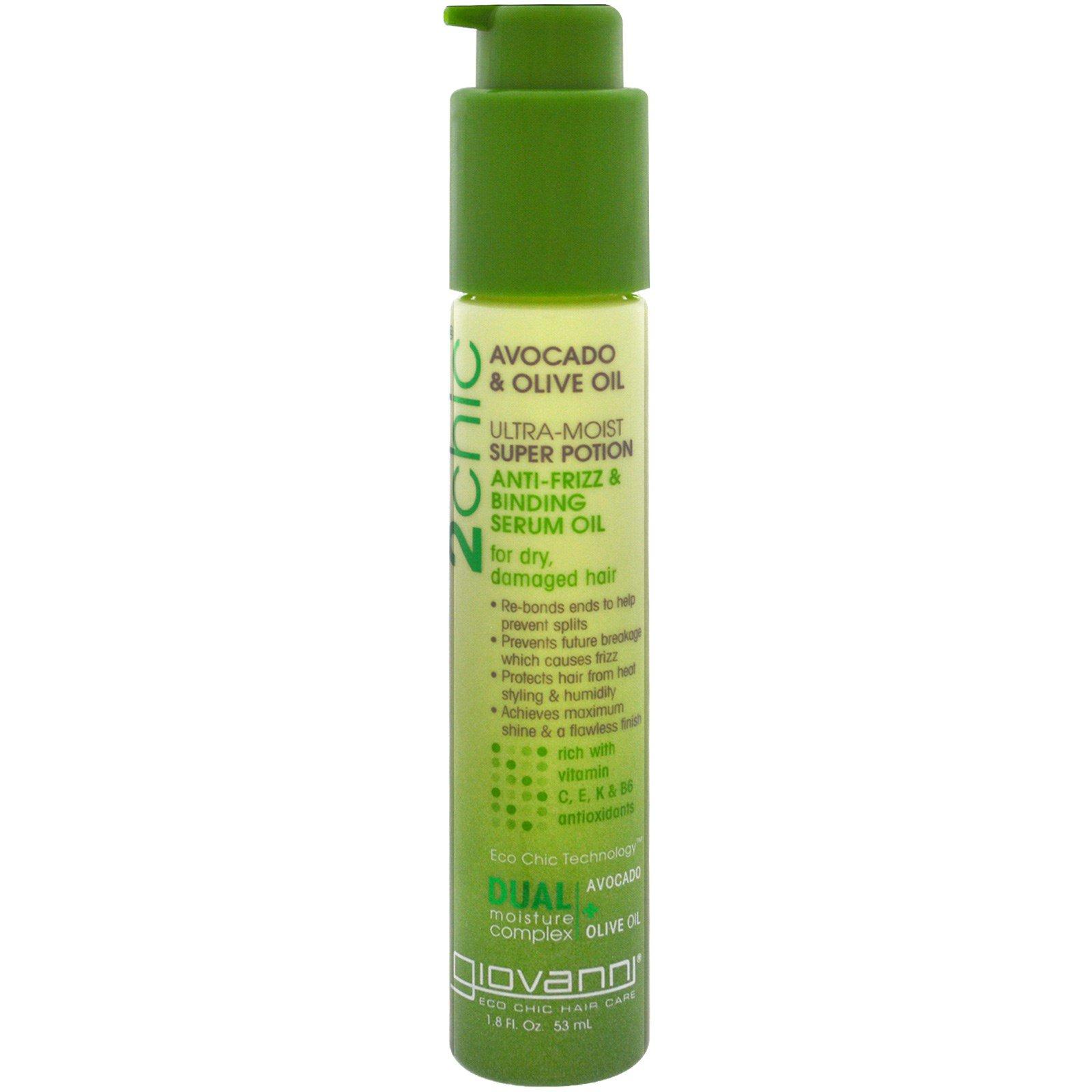 Giovanni, 2chic, увлажняющая сыворотка против завивания и спутывания волос, масла авокадо и оливы, 1.8 унций (53 мл)