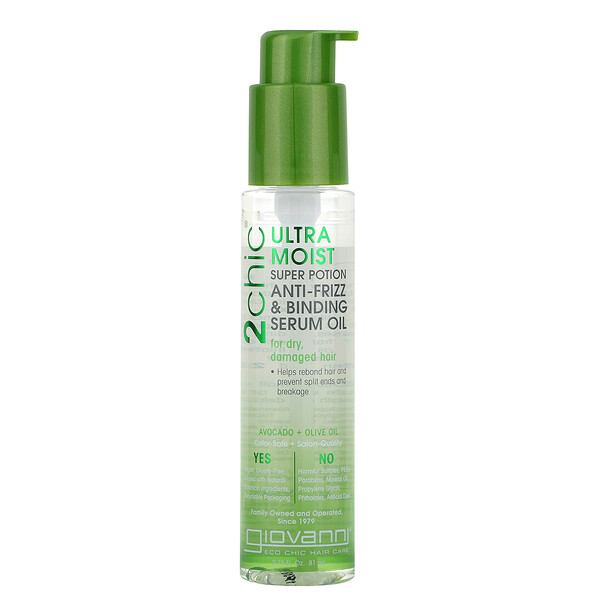 2chic, Ultra-Moist Super Potion Anti-Frizz & Binding Serum Oil, Avocado & Olive Oil, 2.75 fl oz (81 ml)