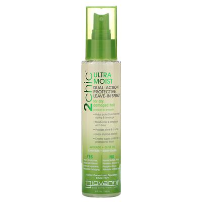 Giovanni 2chic, ультра-увлажняющий защитный спрей двойного действия, авокадо и оливковое масло, 118 мл (4 жидких унции)