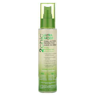 Giovanni, 2chic, Ultra-Moist Dual Action Protective Leave-In Spray, Avocado + Olive Oil, 4 fl oz (118 ml)