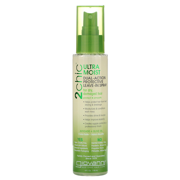 2chic, Ultra-Moist Dual Action Protective Leave-In Spray, Avocado & Olive Oil, 4 fl oz (118 ml)