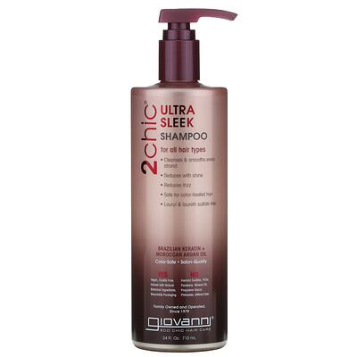 Giovanni 2chic, ультраразглаживающий шампунь для всех типов волос с бразильским кератином и аргановым маслом, 710 мл (24 жидких унции)
