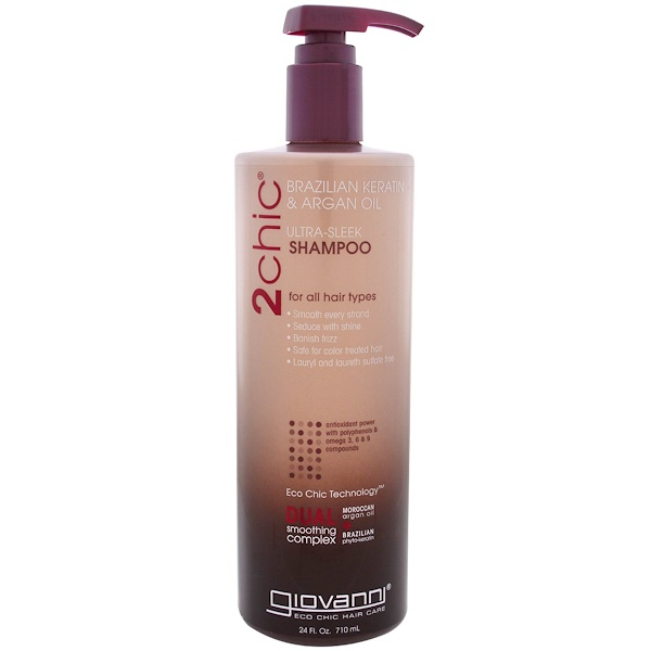 Giovanni, 2chic, Ultra-Sleek Shampoo, for All Hair Types, Brazilian Keratin & Argan Oil, 24 fl oz (710 ml)