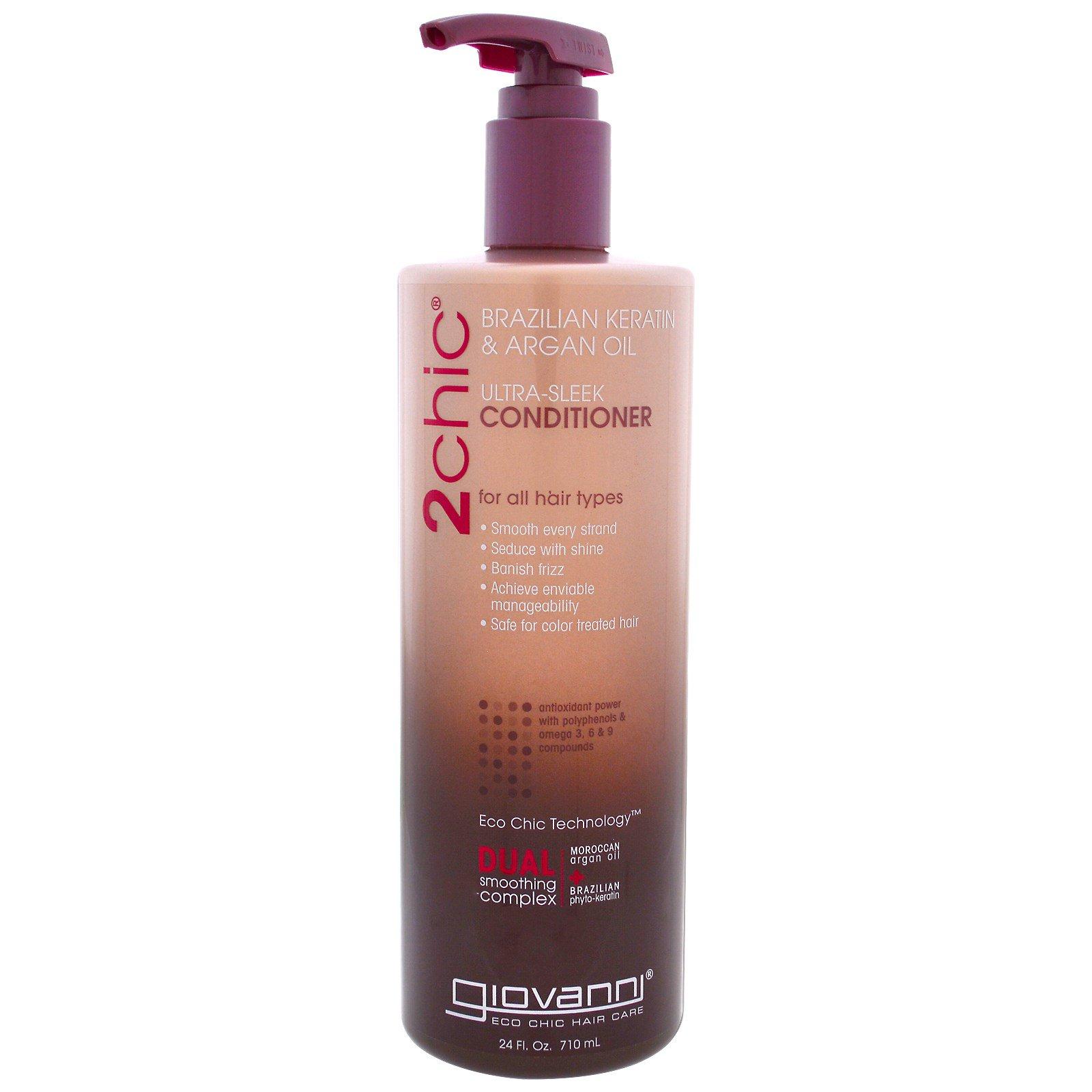 Giovanni, 2chic, ультра-гладкий кондиционер для всех типов волос, бразильский кератин и аргановое масло, 710 мл (24 жидких унции)