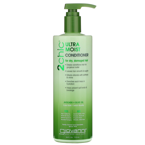 Giovanni, 2chic, Ultra-Moist Conditioner, for Dry, Damaged Hair, Avocado & Olive Oil, 24 fl oz (710 ml)