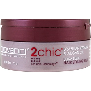 Giovanni, 2chic, Ultra-Sleek Hair Styling Wax, Brazilian Keratin & Argan Oil, 2 oz (57 g)