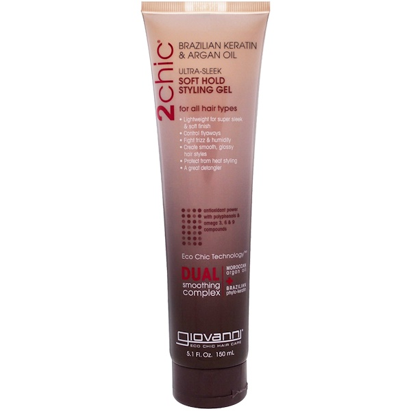 Giovanni, 2chic, Ultra-Sleek, Soft Hold Styling Gel, Brazilian Keratin & Argan Oil, 5.1 fl oz (150 ml)