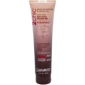Джиованни, 2chic, Ultra-Sleek, Soft Hold Styling Gel, Brazilian Keratin & Argan Oil, 5.1 fl oz (150 ml) отзывы