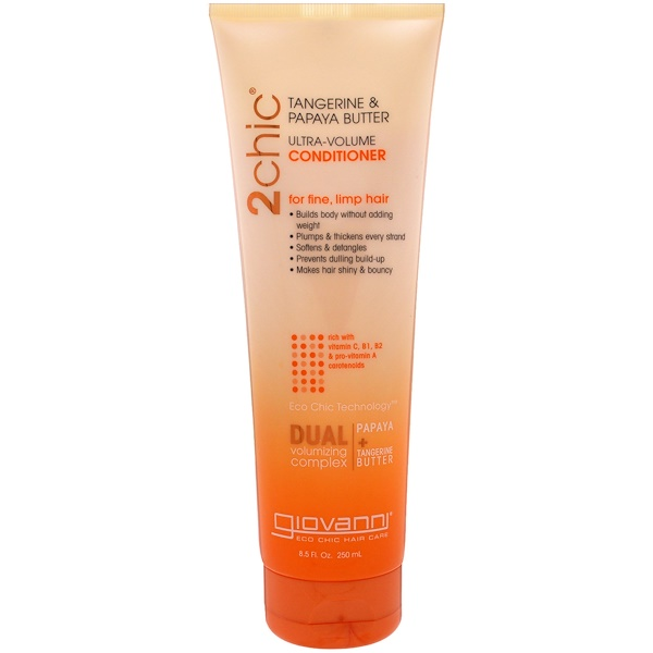 Giovanni, 2chic, Ultra-Volume Conditioner, for Fine, Limp Hair, Tangerine & Papaya Butter, 8.5 fl oz (250 ml) (Discontinued Item)