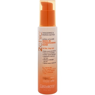 Giovanni, 2chic, Ultra-Volume Leave-In Conditioning Elixir, for Fine, Limp Hair, Tangerine & Papaya Butter, 4 fl oz (118 ml)