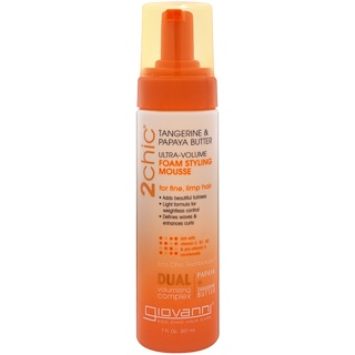 Giovanni, 2chic, Ultra-Volume Foam Styling Mousse, for Fine Limp Hair, Tangerine & Papaya Butter, 7 fl oz (207 ml)