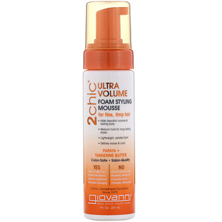 Giovanni, 2chic, Ultra-Volume Foam Styling Mousse, for Fine Limp Hair, Papaya & Tangerine  Butter, 7 fl oz (207 ml)