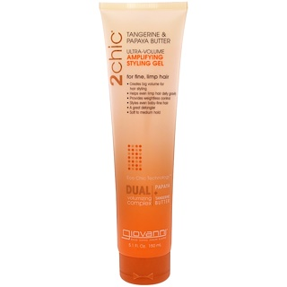 Giovanni, 2chic, Ultra-Volume, Amplifying Styling Gel, Tangerine & Papaya Butter, 5.1 fl oz (150 ml)