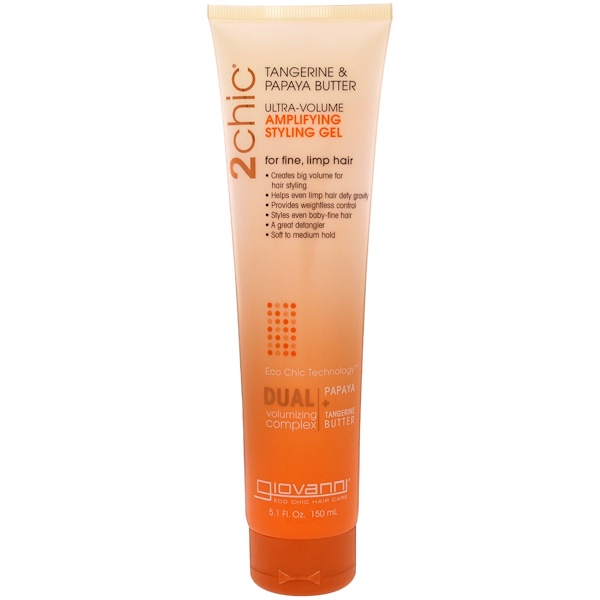Giovanni, 2chic, Gel para peinar amplificador, Ultra Volumen, Mantequilla de mandarina y papaya, 5,1 oz (150 ml) (Discontinued Item)