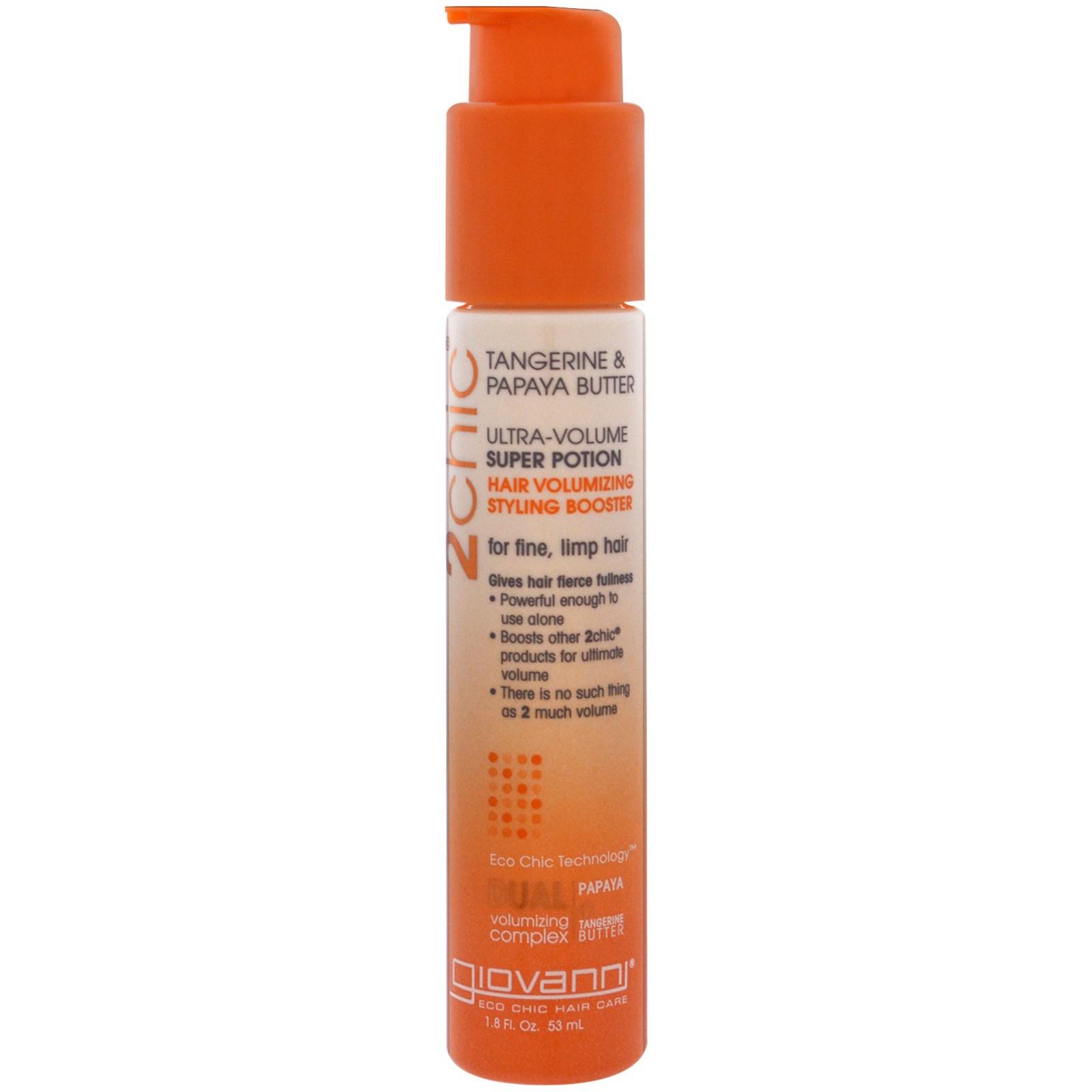 Giovanni, 2chic, средство для увеличения объема волос, средство для объемной укладки, масла мандарина и папайи, 1.8 унций (53 мл)