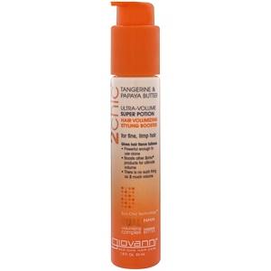 Джиованни, 2chic, Ultra-Volume Super Potion, Hair Volumizing Styling Booster, Tangerine & Papaya Butter, 1.8 fl oz (53 ml) отзывы покупателей