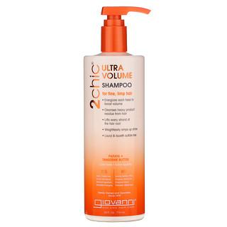Giovanni, 2chic, Ultra-Volume Shampoo, For Fine, Limp Hair, Papaya + Tangerine Butter, 24 fl oz (710 ml)