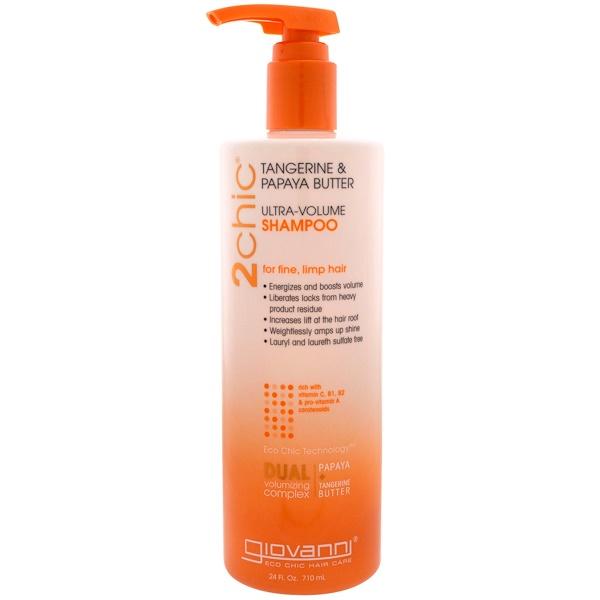 Giovanni, 2chic,超豐盈洗髮水,適合幼細、柔軟的頭髮,蜜橘和木瓜油,24液量盎司(710毫升)