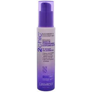 Giovanni, 2chic, Repairing Leave-In Conditioning & Styling Elixir, for Damaged Over Processed Hair, Blackberry & Coconut Milk, 4 fl oz (118 ml)