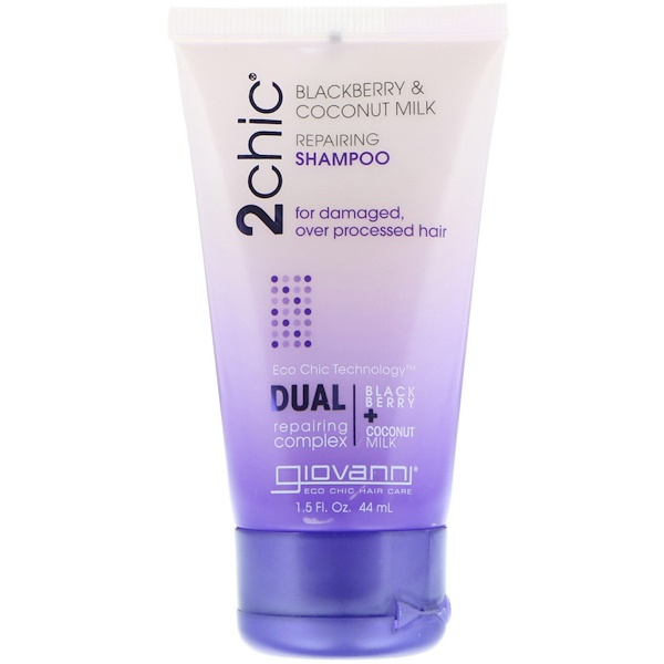 2chic, Repairing Shampoo, for Damaged, Over Processed Hair, Blackberry & Coconut Milk, 1.5 fl oz (44 ml)