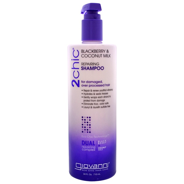 Giovanni, 2chic, Repairing Shampoo, for Damaged, Over Processed Hair, Blackberry & Coconut Milk, 24 fl oz (710 ml)
