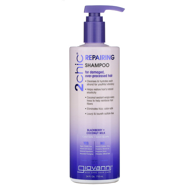 Giovanni, 2chic, Repairing Shampoo, For Damaged, Over-Processed Hair, Blackberry + Coconut Milk, 24 fl oz (710 ml)
