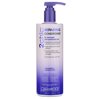 Giovanni, 2chic, Repairing Conditioner, For Damaged, Over-Processed Hair, Blackberry + Coconut Milk, 24 fl oz (710 ml)
