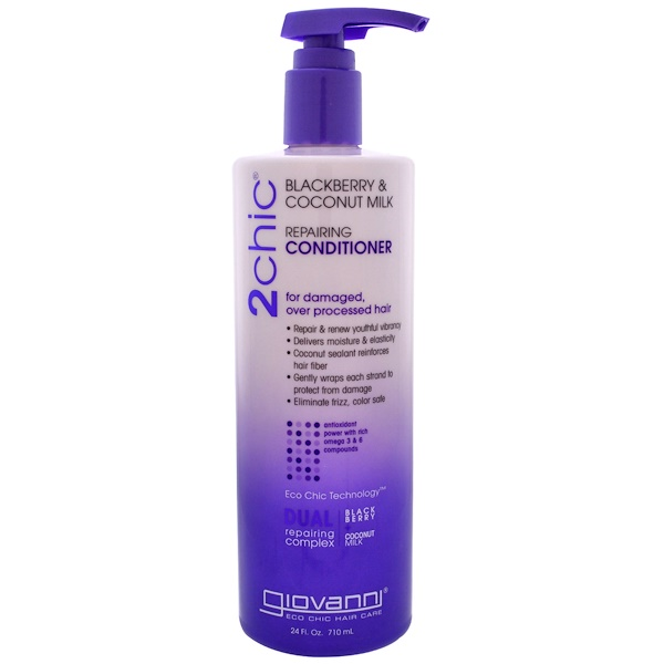 Giovanni, 2chic, Repairing Conditioner, for Damaged Over Processed Hair, Blackberry & Coconut Milk, 24 fl oz (710 ml)