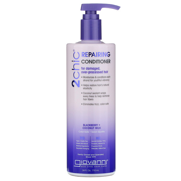 2chic, Repairing Conditioner, for Damaged Over Processed Hair, Blackberry & Coconut Milk, 24 fl oz (710 ml)