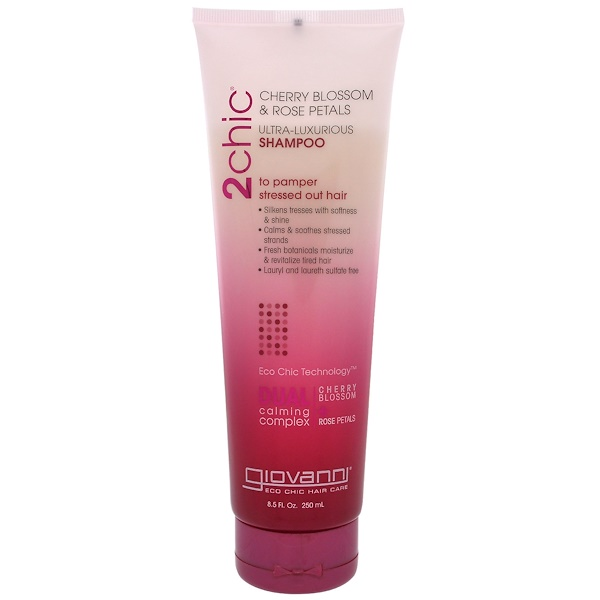 2chic, Ultra-Luxurious Shampoo, to Pamper Stressed Out Hair, Cherry Blossom & Rose Petals, 8.5 fl oz (250 ml)