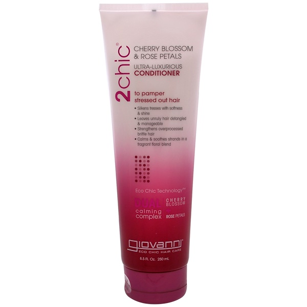 2chic, Ultra-Luxurious Conditioner, to Pamper Stressed Out Hair, Cherry Blossom & Rose Petals, 8.5 fl oz (250 ml)