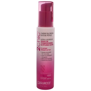 Giovanni, 2chic, Ultra-Luxurious Leave-In Conditioning & Styling Elixir, Cherry Blossom & Rose Petals, 4 fl oz (118 ml)