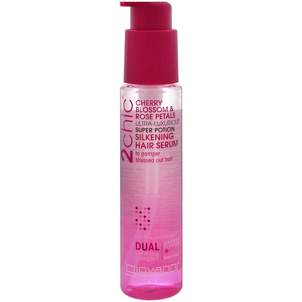 2chic, Ultra-Luxurious Super Potion Silkening Hair Serum, Cherry Blossom & Rose Petals, 2.75 fl oz (81 ml)