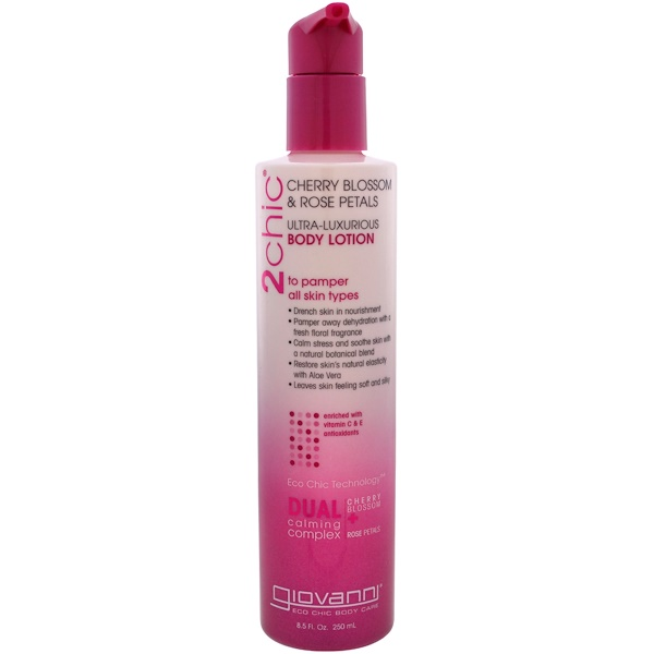 Giovanni, 2chic, Ultra-Luxurious, Body Lotion, Cherry Blossom & Rose Petals, 8.5 fl oz (250 ml) (Discontinued Item)