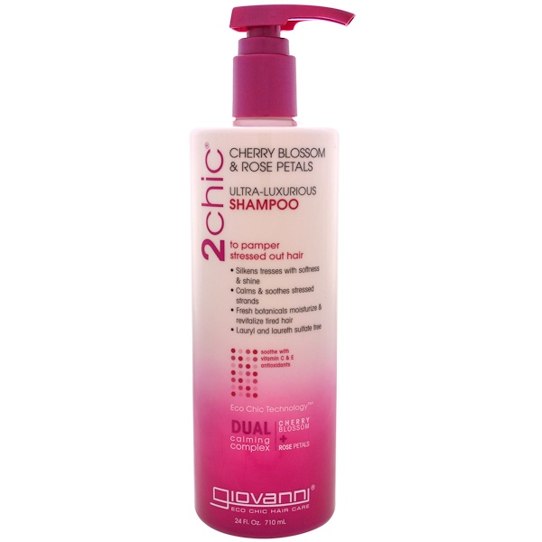 2chic, Ultra-Luxurious Shampoo, to Pamper Stressed Out Hair, Cherry Blossom & Rose Petals, 24 fl oz (710 ml)