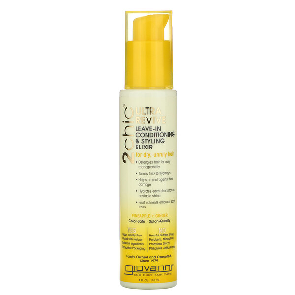 Giovanni, 2chic, Ultra-Revive Leave-In Conditioning & Styling Elixir, Pineapple & Ginger, 4 fl oz (118 ml)