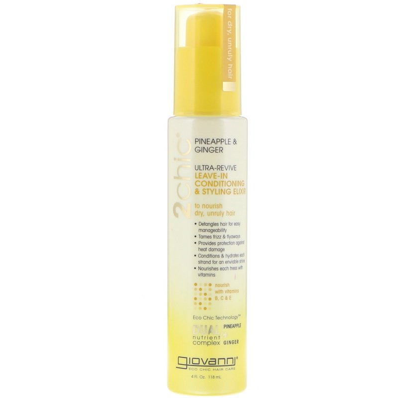 2chic, Ultra-Revive Leave-In Conditioning & Styling Elixir, Pineapple & Ginger, 4 fl oz (118 ml)