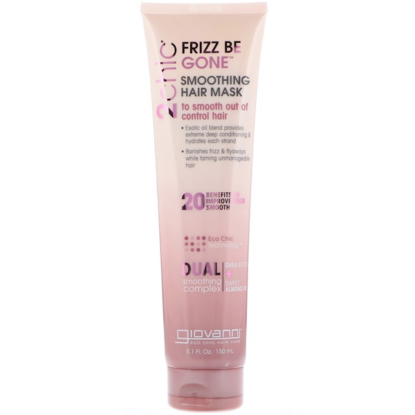 Giovanni, 2chic, Frizz Be Gone, Smoothing Hair Mask, Shea Butter + Sweet Almond Oil, 5.1 fl oz (150 ml)