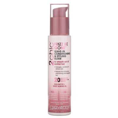 Giovanni 2chic, Frizz Be Gone Leave-In Conditioning & Styling Elixir, Shea Butter & Sweet Almond Oil, 4 fl oz (118 ml)