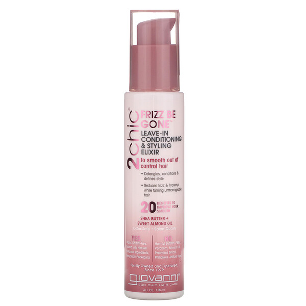 Giovanni, 2chic, Frizz Be Gone Leave-In Conditioning & Styling Elixir, Shea Butter & Sweet Almond Oil, 4 fl oz (118 ml)