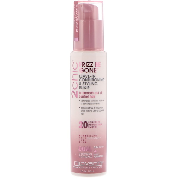 2chic, Frizz Be Gone, Leave-In Conditioning & Styling Elixir, Shea Butter + Sweet Almond Oil, 4 fl oz (118 ml)