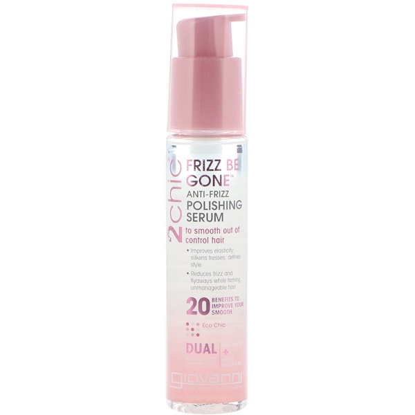 Giovanni, 2chic, Frizz Be Gone, Anti-Frizz Polishing Serum, Shea Butter + Sweet Almond Oil, 2.75 fl oz (81 ml)