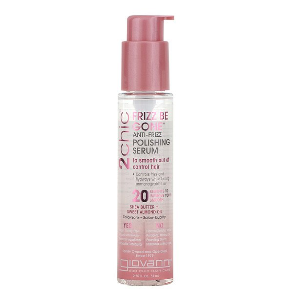 2chic, Frizz Be Gone Anti-Frizz Polishing Serum, Shea Butter & Sweet Almond Oil, 2.75 fl oz (81 ml)