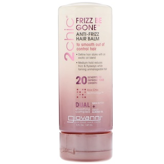 Giovanni, 2chic, Frizz Be Gone Anti-Frizz Hair Balm, Shea Butter + Sweet Almond Oil, 5 fl oz (147 ml)