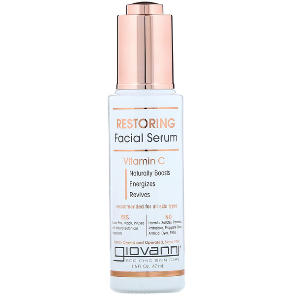 Giovanni, Restoring Facial Serum With Vitamin C, 1.6 fl oz (47 ml)